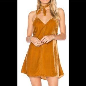For love and lemons Golden velvet mini dress.
